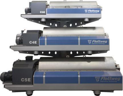 The wastewater decanters at a glance: The models of the Flottweg C series